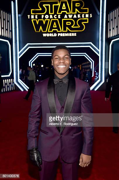 """Actor John Boyega attends the World Premiere of """"Star Wars The Force Awakens"""" at the Dolby El Capitan and TCL Theatres on December 14 2015 in..."""