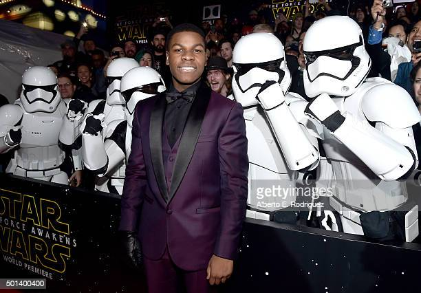 "Actor John Boyega attends the World Premiere of ""Star Wars The Force Awakens"" at the Dolby El Capitan and TCL Theatres on December 14 2015 in..."