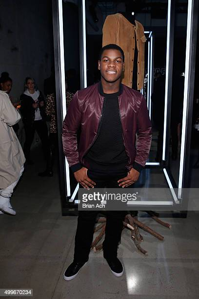 "Actor John Boyega poses with Timo Weiland's Star Warsinspired look for the ""Force 4 Fashion"" Event on Dec 2 at the Skylight Modern in NYC Top..."