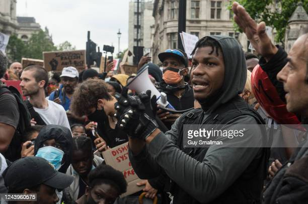 Actor John Boyega speaks as protestors join a Black Lives Matter rally at Hyde Park before marching into central London and finishing at parliament...
