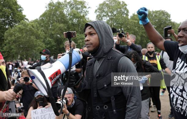 Actor John Boyega speaks to the crowd during a Black Lives Matter protest in Hyde Park on June 3 2020 in London United Kingdom The death of an...