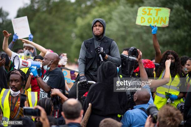 Actor John Boyega speaks to the crowd during a Black Lives Matter protest in Hyde Park on June 03 2020 in London England The death of an...