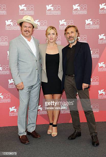 Actor John C Reilly actress Kate Winslet and actor Christoph Waltz attend the Carnage Photocall during the 68th Venice International Film Festival at...