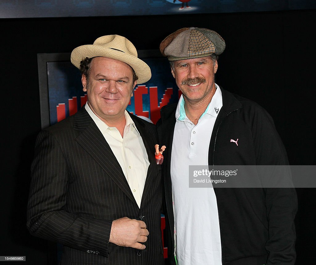 Actor John C. Reilly and actor Will Ferrell at the Premiere Of Walt Disney Animation Studios' 'Wreck-It Ralph' - Red Carpet at the El Capitan Theatre on October 29, 2012 in Hollywood, California.
