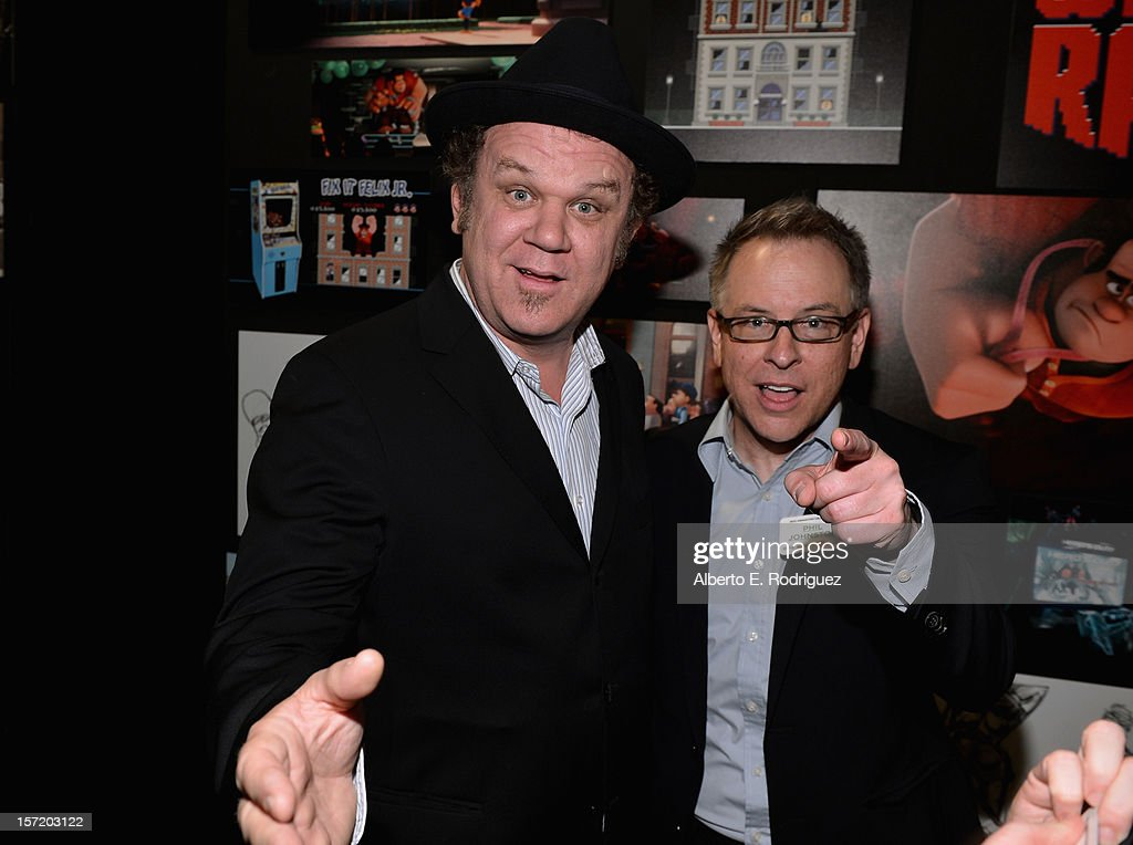 Actor John C. Reilly (L) and 'Wreck- It Ralph' director Rich Moore (R) attend Walt Disney Studios 2012 animation celebration at The Beverly Hills Hotel on November 29, 2012 in Beverly Hills, California.