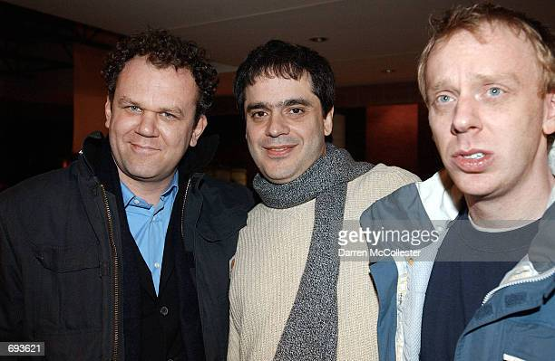 Actor John C Reilly director Miguel Arteta and actor Mike White attend the premiere of their movie The Good Girl January 12 2002 at the Sundance Film...