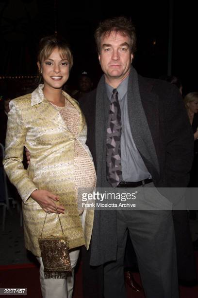 Actor John Callahan and pregnant wife Eva arrive for a special performance of 42nd Street hosted by Julie Andrews at the Ford Center for the...