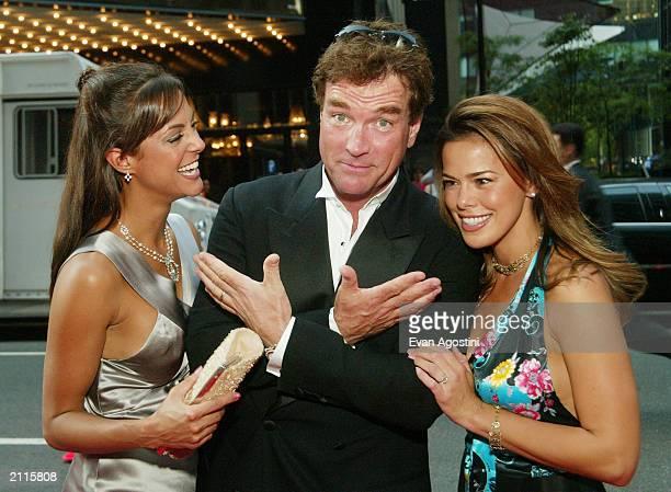 Actor John Callahan poses with his wife Eva La Rue Callahan and actress Eva Blasi at the National 2003 Gracie Allen Awards at The New York Hilton...