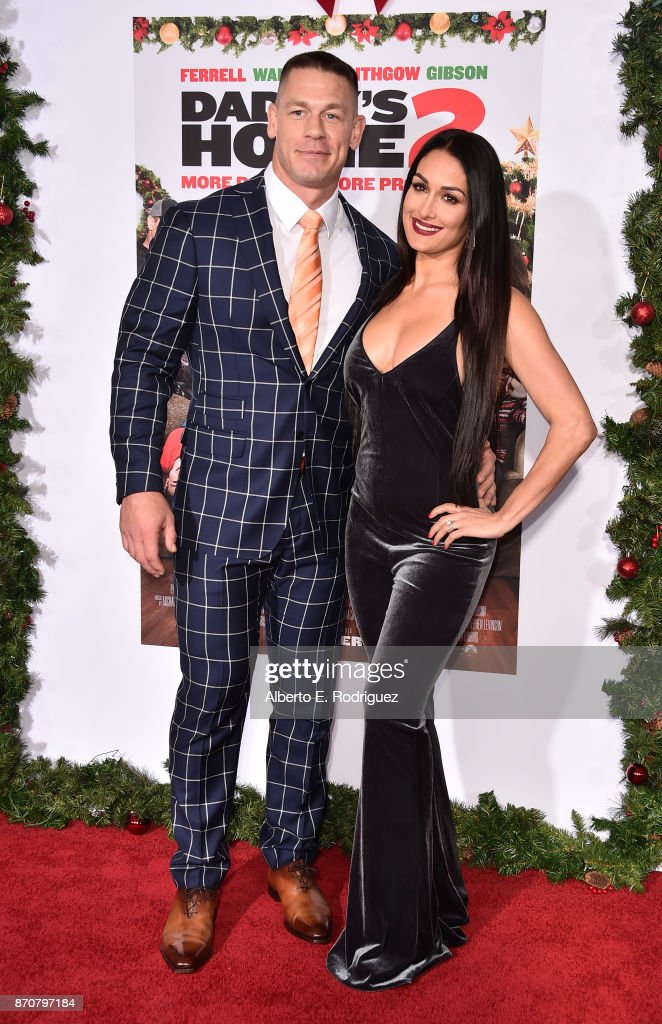 Actor John Cena and Nikki Bella attend the premiere of Paramount Pictures' 'Daddy's Home 2' at The Regency Village Theatre on November 5, 2017 in Westwood, California.