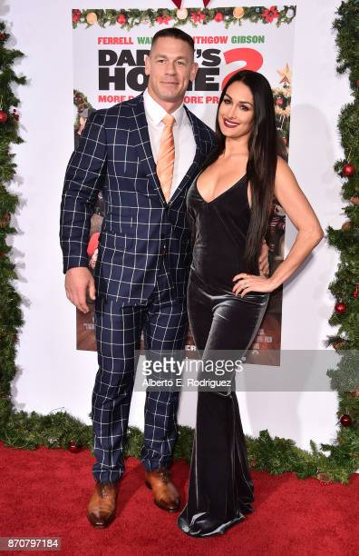 Actor John Cena and Nikki Bella attend the premiere of Paramount Pictures' 'Daddy's Home 2' at The Regency Village Theatre on November 5 2017 in...