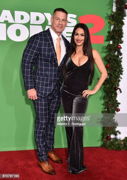 Actor John Cena and Nikki Bella attend the premiere of Paramount Pictures' Daddy's Home 2 at The Regency Village Theatre on November 5 2017 in...