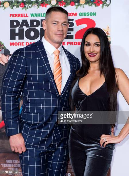 Actor John Cena and wife Nikki Bella attend the Paramount pictures premiere of 'Daddy's Home 2' on November 5 in Westwood California / AFP PHOTO /...