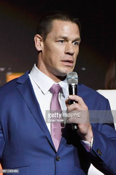 Actor John Cena speaks onstage during the CinemaCon 2018 Paramount Pictures Presentation Highlighting Its Summer of 2018 and Beyond at The Colosseum...