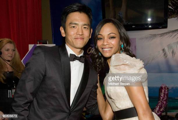 Actor John Cho and actress Zoe Saldana attend the BFCA Critics' Choice Movie Awards at Hollywood Palladium on January 15 2010 in Hollywood California