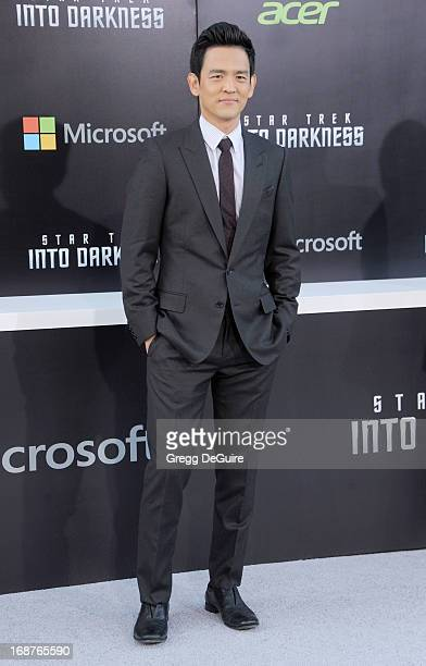 Actor John Cho arrives at the Los Angeles premiere of Star Trek Into Darkness at Dolby Theatre on May 14 2013 in Hollywood California