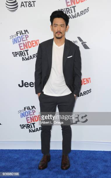 Actor John Cho arrives for the 2018 Film Independent Spirit Awards on March 3 2018 in Santa Monica California