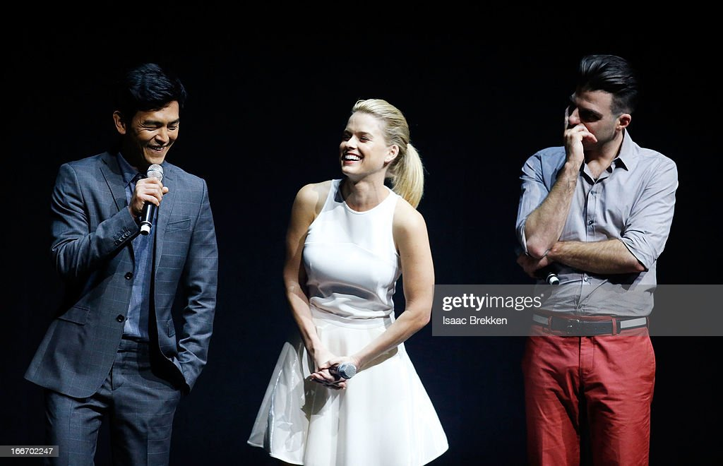 Actor John Cho (L-R) speaks with actors Alice Eve and Zachary Quinto at a Paramount Pictures presentation to promote their upcoming film, 'Star Trek Into Darkness' during CinemaCon at The Colosseum at Caesars Palace on April 15, 2013 in Las Vegas, Nevada.