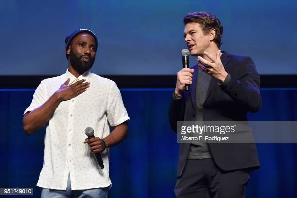 Actor John David Washington and producer Jason Blum speak onstage during the CinemaCon 2018 Focus Features Presentation at Caesars Palace during...