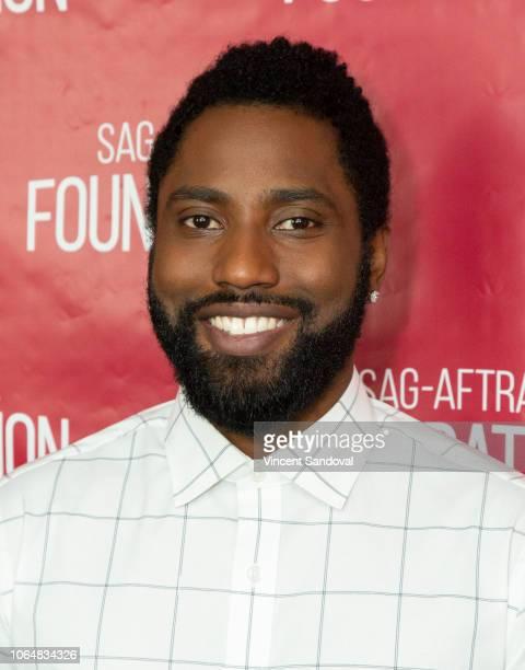 Actor John David Washington attends SAGAFTRA Foundation Conversations screening of BlacKkKlansman at SAGAFTRA Foundation Screening Room on November 7...
