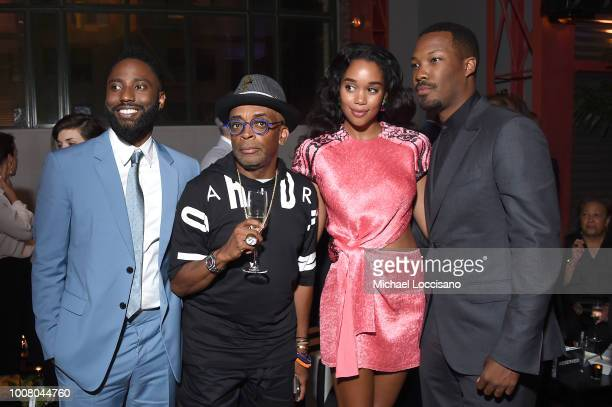 Actor John David Washington director Spike Lee and actors Laura Harrier and Corey Hawkins attend the after party for the New York premiere of...