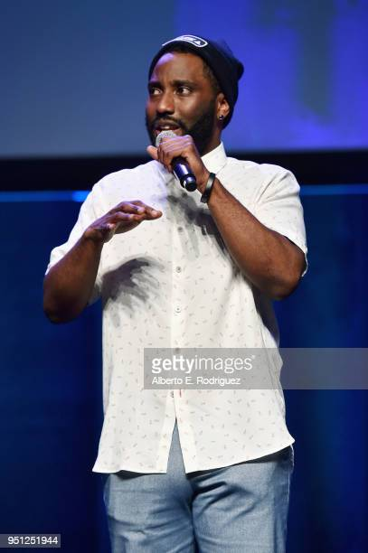Actor John David Washington speaks onstage the CinemaCon 2018 Focus Features Presentation at Caesars Palace during CinemaCon the official convention...