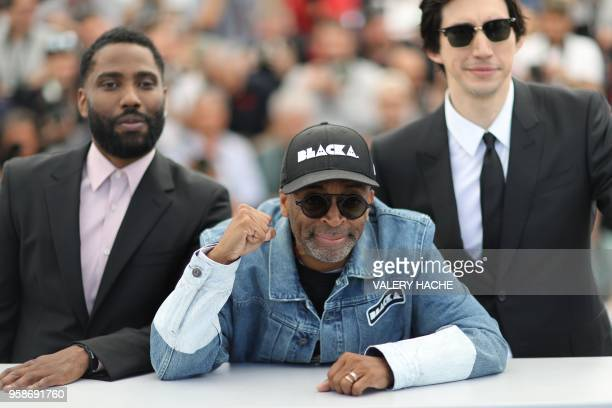 TOPSHOT US actor John David Washington US director Spike Lee and US actor Adam Driver pose on May 15 2018 during a photocall for the film...