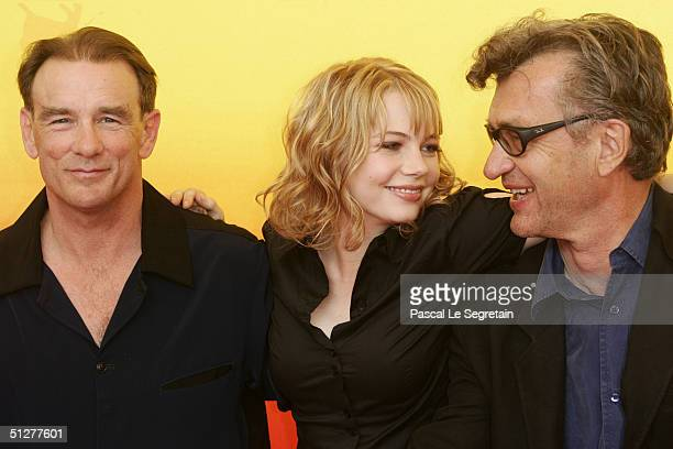 """Actor John Diehl ; Actress Michelle Williams and Director Wim Wenders attend the """"Land of Plenty"""" Photocall/Premiere at the 61st Venice Film Festival..."""