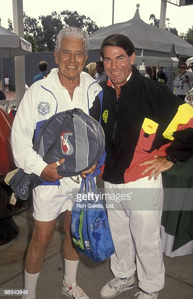Actor John Forsyth and baseball player Steve Garvey attend Second Annual Nancy Reagan Tennis Tournament on October 6, 1990 in Pacific Palisades,...