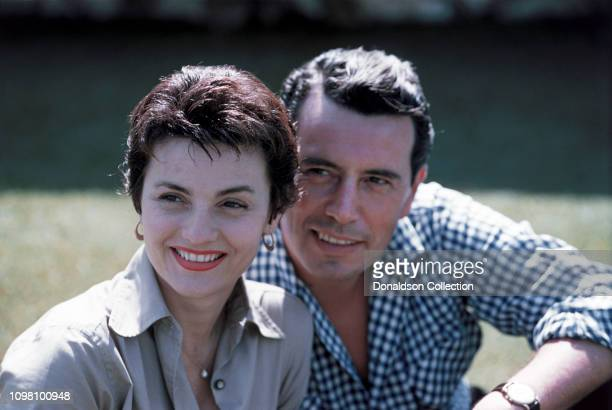 Actor John Forsythe and his wife Julie Warren pose for a portrait on July 23 1957 in Los Angeles California