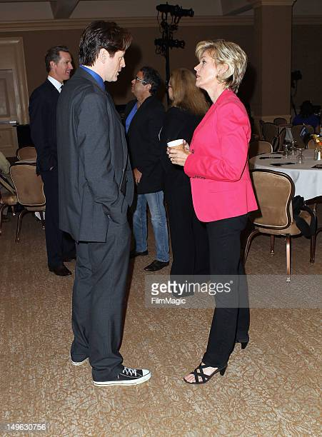 Actor John Fugelsang and Host and former Michigan Governor Jennifer Granholm speaks during the Current TV TCA Breakfast at The Beverly Hilton Hotel...