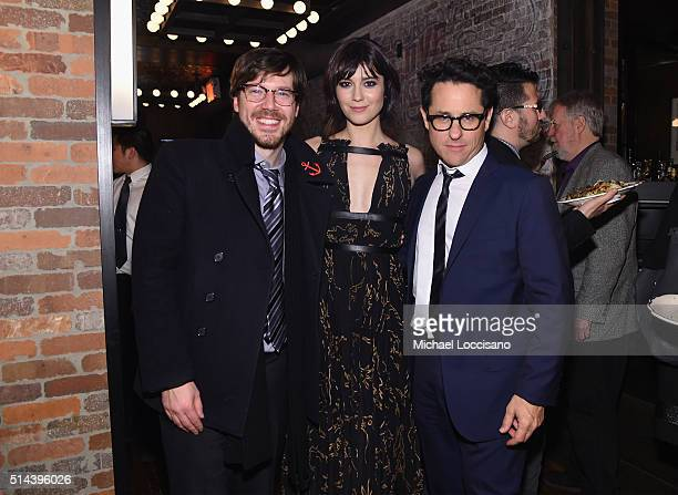 Actor John Gallagher Jr actress Mary Elizabeth Winstead and producer JJ Abrams attend the '10 Cloverfield Lane' New York Premiere after party at the...