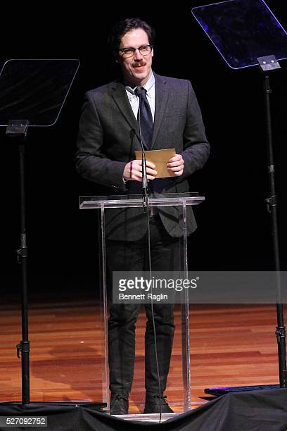 Actor John Gallagher Jr speaks onstage during the 31st Annual Lucille Lortel Awards at NYU Skirball Center on May 1 2016 in New York City