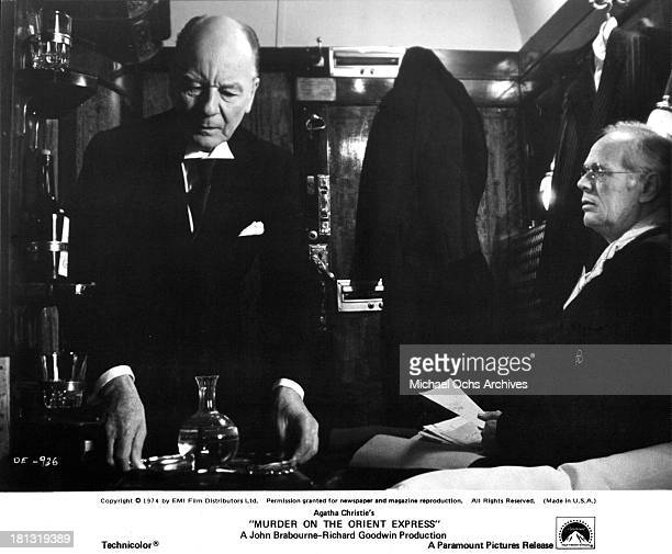 Actor John Gielgud and Richard Widmark on the set of the Paramount Pictures movie 'Murder on the Orient Express' in 1974