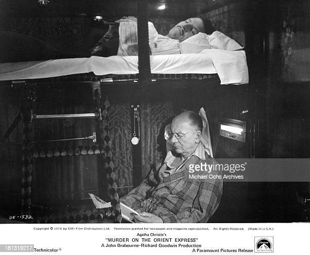 Actor John Gielgud on the set of the Paramount Pictures movie 'Murder on the Orient Express' in 1974