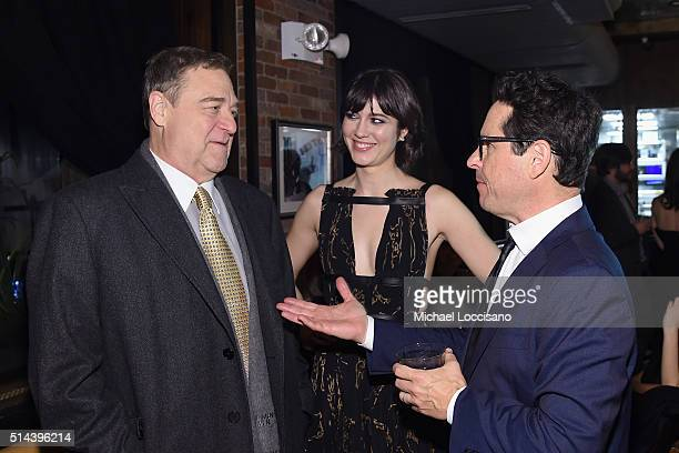 Actor John Goodman actress Mary Elizabeth Winstead and producer JJ Abrams attend the 10 Cloverfield Lane New York Premiere after party at the Ribbon...