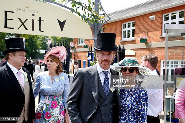 Actor John Goodman and his wife Annabeth Hartzog and actors Damian Lewis and wife Helen McCrory attend Royal Ascot 2015 at Ascot racecourse on June...