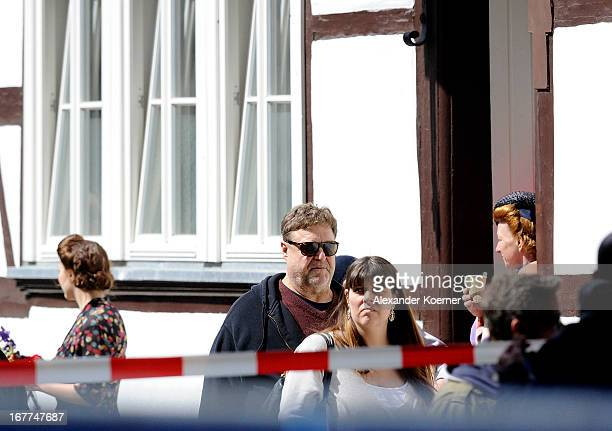 Actor John Goodman and his wife Annabeth Hartzog are seen on set of his current project 'The Monuments Men' on April 29 2013 in Goslar Germany The...