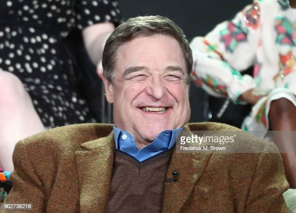 Actor John Goodman of the television show Roseanne reacts onstage during the ABC Television/Disney portion of the 2018 Winter Television Critics...