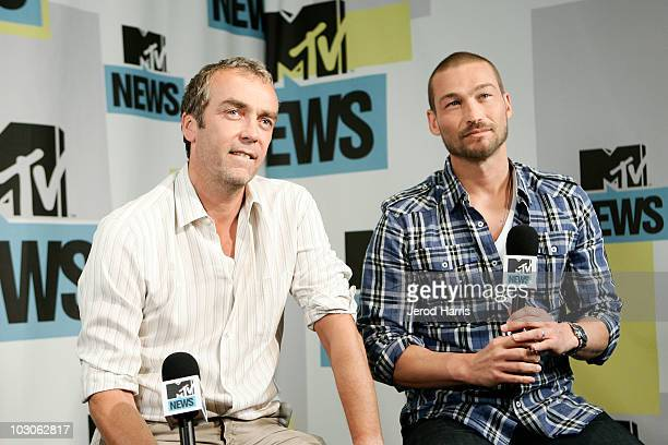 Actor John Hannah and actor Andy Whitfield in the MySpace MTV Tower During ComicCon 2010 Day 2 on July 23 2010 in San Diego California