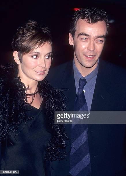 Actor John Hannah and wife Joanna Roth attend the Sliding Doors New York City Premiere on April 21 1998 at the Gotham Cinema in New York City