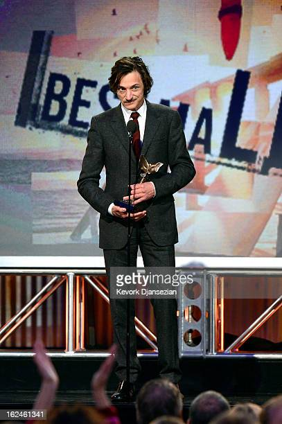Actor John Hawkes accepts the award for Best Male Lead onstage during the 2013 Film Independent Spirit Awards at Santa Monica Beach on February 23...