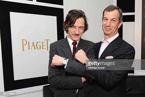 Actor John Hawkes and CEO of Piaget Philippe LeopoldMetzger pose in the Piaget poses in the Piaget Lounge during The 2013 Film Independent Spirit...