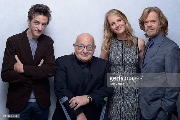 Actor John Hawkes writer/director Ben Lewin and actors Helen Hunt and William H Macy of 'The Sessions' pose at the Guess Portrait Studio during 2012...