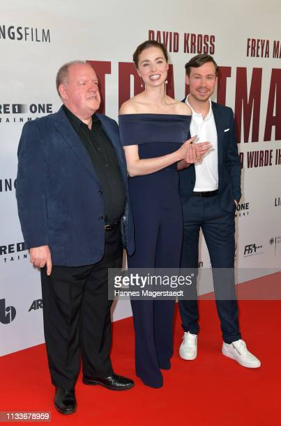 Actor John Henshaw Freya Mavor and David Kross attend the premiere of the film Trautmann at Mathaeser Filmpalast on March 4 2019 in Munich Germany
