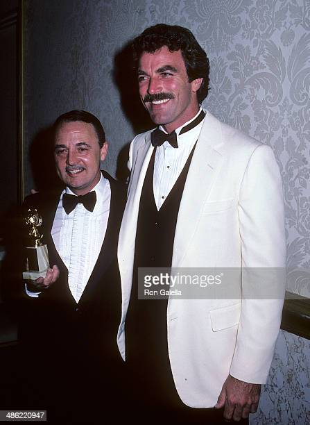 Actor John Hillerman and actor Tom Selleck attend the 39th Annual Golden Globe Awards on January 30 1982 at the Beverly Hilton Hotel in Beverly Hills...