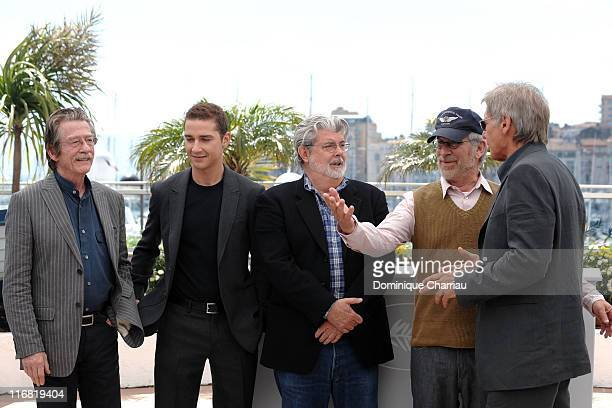Actor John Hurt actor Shia LaBeouf writer George Lucas director Steven Spielberg and actor Harrison Ford attend the Indiana Jones and the Kingdom of...
