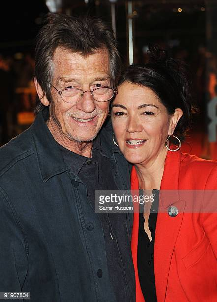 Actor John Hurt and wife Anwen ReesMyers arrive for the premiere of 'The Men Who Stare At Goats' during the Times BFI 53rd London Film Festival at...