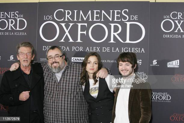 Actor John Hurt director Alex de la Iglesia and actors Leonor Watling and Elijah Wood attend a photocall for the film 'The Oxford Murders' at the...