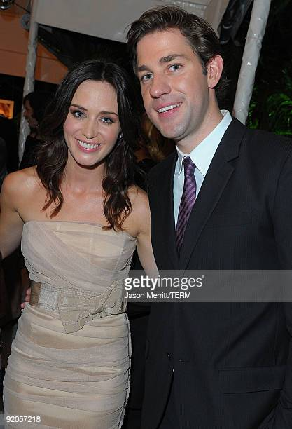 Actor John Krasinski and actress Emily Blunt attend the 16th Annual ELLE Women in Hollywood Tribute at the Four Seasons Hotel on October 19, 2009 in...