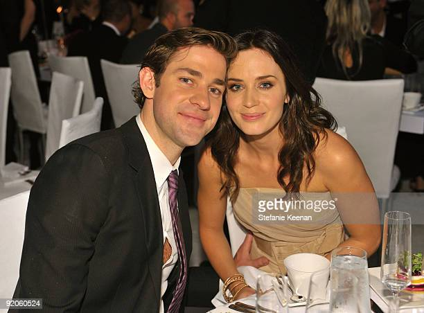 Actor John Krasinski and actress Emily Blunt attend the 16th Annual ELLE Women in Hollywood Tribute at the Four Seasons Hotel on October 19 2009 in...